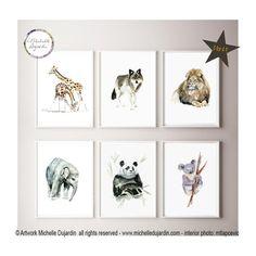 8693e0e829f Zoo art, set of 6 prints, Nursery zoo paintings, watercolor animals, lion  art, koala, panda, giraffes, wolf, elephant posters, wall art