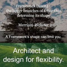 """The definitions for """"Framework"""" stress:  - structure - skeleton - frame - surrounding - determination and control  The definitions for """"Architecture"""" stress:  - the art/practice/process of creating - conscious construction - coherence - evolution - style - flexibility   An Architect creates architecture through a process of evolving different designs trying things out taking into account usage and flexibility requirements for enhancement and reslience.  A ... (what is the name for a person…"""