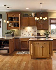 Great kitchen cabinets with a beautiful plate rack. http://www.menards.com/main/landing-pages/vendor/schrock/c-13498.htm?utm_source=pinterest&utm_medium=social&utm_campaign=creativekitchens&utm_content=bayfield-cherry&cm_mmc=pinterest-_-social-_-creativekitchens-_-bayfield-cherry