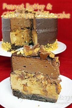 Double Decker Peanut Butter & Chocolate Cheesecake!