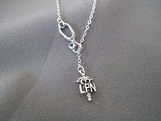 Silver LPN Nurse Necklace  Lariat Necklace by BeadedDesignsJacquie, $20.00 New LPN Version of my most popular design!