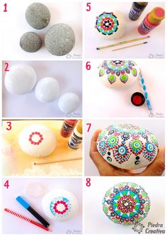 Healthy recipes for dinner with kids free Design Lotus, Stone Art Painting, Diy And Crafts, Arts And Crafts, Dotting Tool, Stone Crafts, Dinners For Kids, Mandala Art, Rock Art