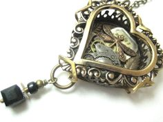 Dragonfly heart necklace. #steampunk