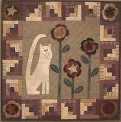 wool applique quilt pattern   ... Art Quilt and Wool Applique Pattern: CAT in the CABINS - Wall Quilt