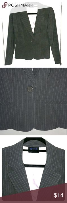 Dark Grey Suit Jacket Only worn once!  Dark grey suit jacket with light pink pin stripes and pink lining. Includes 2 faux front pockets and 1 button closure. 62% Polyester, 35% Rayon, 3% Spandex  Bundle with other items in my closet and save! Star City Jackets & Coats Blazers