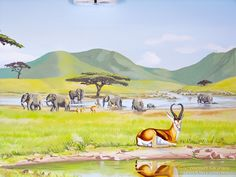 serengeti mural watering hole gazelle elephants