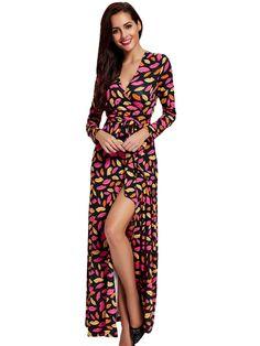 Sale 28% (30.99$) - Elegant Women Printing Sexy V-Neck Long Sleeve Belt Maxi Dress