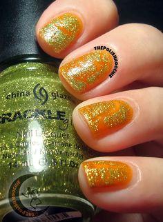 ThePolishHoochie - Cirque Kabocha layered with China Glaze Crackle Jade-D China Glaze, My Nails, Class Ring, Jade