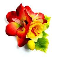 Retro Fascynator Czerwone Orchidee i Cytryny Kwiaty do Włosów Pin-up
