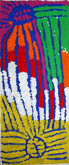 art & australian aboriginal indigenous -Lorna Fencer Napurrula ~ Yarla (Bush Potato) Aboriginal People, Aboriginal Art, Didgeridoo, Phoenix Bird, Painted Leaves, Dots Design, Australian Art, Indigenous Art, Surface Design