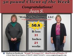 Congratulations to our #50Pound Client of the Week: Jean S. Thank you for allowing us to share your incredible results!! You look amazing, keep up the great work!! #50PoundsLost #AndThenSome #StillGoing #Healthy #WeightLoss #Success #IdealProtein #WeightNoLongerLLC
