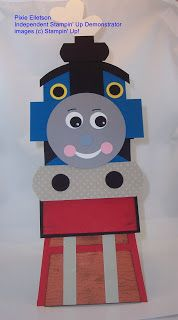 """Thomas the Tank Engine punch art card. Uses Circle Scissors - or something to cut circles and 1/2"""" circle, 3/4"""" circle, and Full Heart punches."""