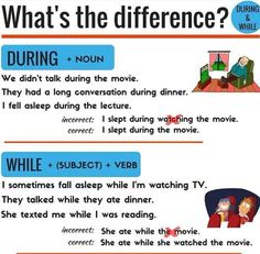 Do you know when to use 'during' and when to use 'while'? This makes it simple! Essay Writing Skills, Grammar Skills, Teaching English Grammar, English Writing Skills, English Vocabulary Words, English Phrases, Learn English Words, Writing Words, English Language