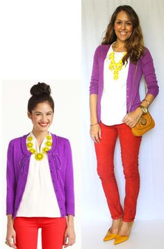 purple cardi, red jeans, white top, yellow necklace