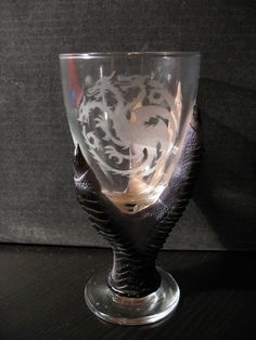 Game of Thrones style wine glass with by CreaturesOfTheDark