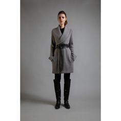 Cashmere Cocoon Belted Coat, Fog Grey