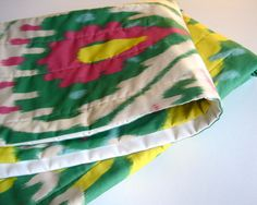 ORGANIC Baby Quilt - Tribal Ikat Modern Kids Bedding - Geometric Hot Pink Flambe, Chartreuse and Emerald