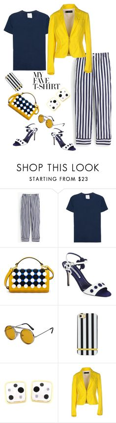 """Dress Up a T-Shirt"" by dianefantasy ❤ liked on Polyvore featuring Thomas Mason, Eve Denim, Henri Bendel, Manolo Blahnik, Spitfire, Dsquared2 and MyFaveTshirt"