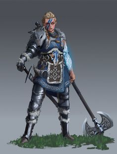"""shkimmilk: """"A hero of clan Ulfrung, rivals to House Leo, blessed by her gods. """""""