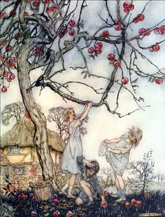 "Not till every leaf has flown... ""A Dish of Apples"" (1921) illustrated by Arthur Rackham"