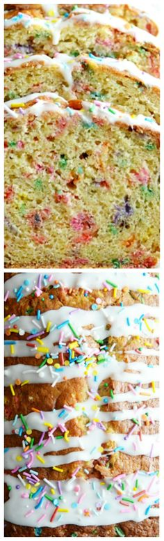 Birthday Cake Banana Bread ~ Incredibly moist, easy to make, and so much fun... This banana bread is perfect for a special birthday breakfast or just a fun way to use up those old bananas!