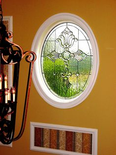 Oval Henley design.  #stainedglass #window #beautiful #traditional #elegant #custom #homedecor #decor #foyer #creative #privacy