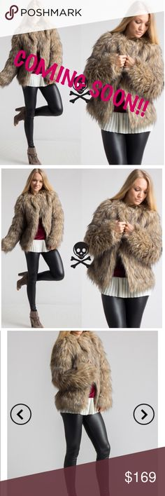 Faux Fur Coat- BROWN 80% Acrylic 20% Polyester. Lining 100% Polyester Two hook closure. Lightweight Jackets & Coats