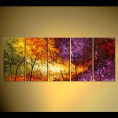 Original Abstract Contemporary Blooming Tree Acrylic Painting Heavy Palette…