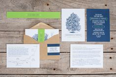 Daisy & Jack tree, blue and green wedding invitations and stationery  #stationery #wedding #bridal #invitation #summer #floral #design #paper #craft