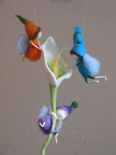 Nursery Waldorf Mobile, needle and wet felted