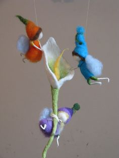Nursery Waldorf Mobile, needle and wet felted