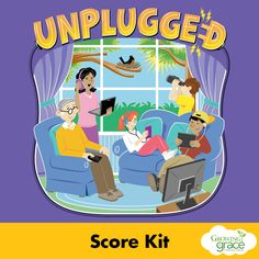 The Unplugged Children's Musical from Growing in Grace dares us to disconnect from things that distract us from one another and from Christ, following the command of Hebrews 12:1. Written by Dennis and Nan Allen, all music and drama are appropriate for grades 1-6. The Unplugged Score Kit includes Director's Score with keyboard, vocal parts, student score lead sheets, rhythm charts, and script.