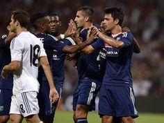 Alvaro Morata y Casemiro anotaron los goles que le permitieron al conjunto merengue el empate 2-2 contra el Olympique de Lyon.Fotos. AFP Y EFE.