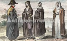 Costumes Bourgeois à Lisbonne, Portugal. Original steel engraving drawn by Demoraine, engraved by Prot. 1859.