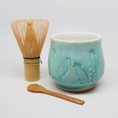 Matcha Tea Bowl with Bamboo Whisk & Spoon, Mountain Mud Babies on etsy, $35.00