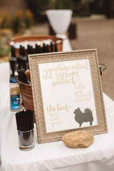 Signature Drinks Wedding Signage • Handlettered by Laura Fraser