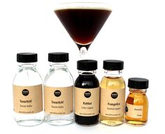 We're so excited to announce this kit! Espresso, Martini, Coffee, liqueur, Tovaritch, vodka, Kahula Coffee liqueur, Francelico Hazlenut liqueur, Amaretto