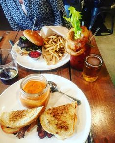 Downtown Campbell: Saturday diet: Tomatoes bisque grill cheese w/ bacon portobello burger Bloody Mary beers chasers #california #rainysaturday #bff #lunch #eatloveplay #beer #cocktails #restaurant #funtimes #laughter #californiagirls #travel #exploring #yum #instadaily #photooftheday  by unrulyfeet