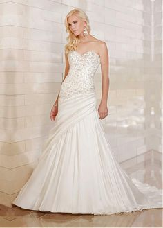 Fashion-forward Satin A-line Strapless Sweetheart Embroideried Asymmetrical Pleated Bridal Gown With Beadings