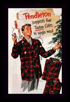 1951 Pendleton Plaid Pajamas, Smoking Jacket Ad - Menswear - Wall Art - Home Decor - Retro Vintage Clothing & Fashion Advertising by SnowFireCandleCo on Etsy https://www.etsy.com/listing/224471428/1951-pendleton-plaid-pajamas-smoking