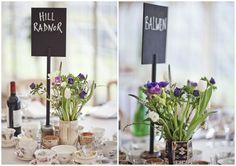 table centres with blackboard placecards