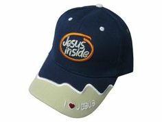 """Jesus Inside"" In A Thick Orange Line Embroidered Graphics Navy Cap"