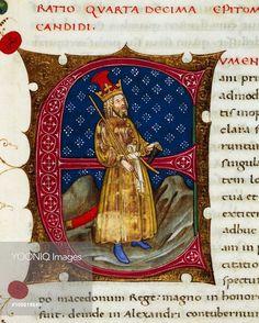 Initial letter E depicting Eumenes of Cardia, miniature from In libris epitomatum illustriorum virorum Plutarchi, by Pietro Candido Decembrio (1392-1477), parchment manuscript, cod CCXXXIX, folio 208, recto. Italy, 15th century.