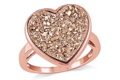 Rose Gold Drusy Heart Ring