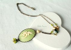 Fairy Cameo necklace cream white and green by PetiteFraise on Etsy, €23.00 #etsy #handmade #jewelry #necklace #cameo #fairy #fairytale #green