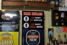 <b>A collection of uniquely AUSTRALIAN signs!</b> Featuring beer, boners and budgies.