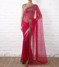 Pink Tulle Saree With Mirror Work