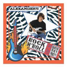 Rock N'Roll Rock Star Birthday Party Invitations