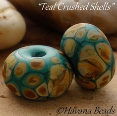 TEAL CRUSHED SHELLS - Set of Two Handmade Lampwork Etched Earring Pair