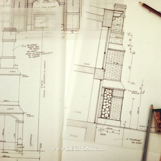 our work - drawing detail facade , fireplace   architecture ,house